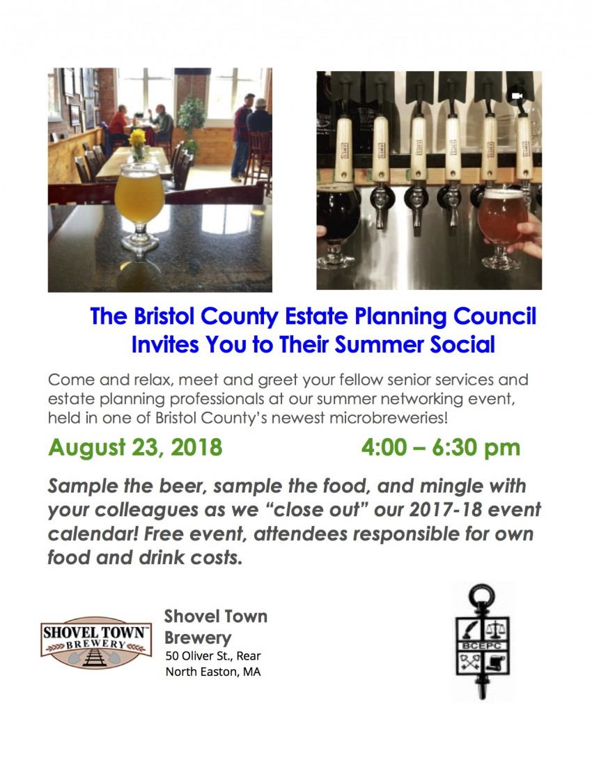 Bcepc summer social bristol county estate planning council come and relax meet and greet your fellow senior services and estate planning professionals at our summer networking event held in one of bristol countys m4hsunfo